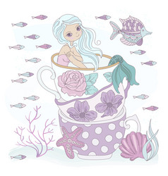 cup mermaid ocean princess vacation vector image