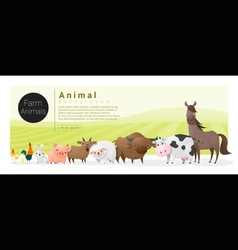 Cute animal family background with farm animals 2 vector image