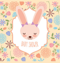 cute female rabbit baby shower flowers card vector image
