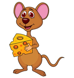 Cute mouse cartoon holding cheese vector image
