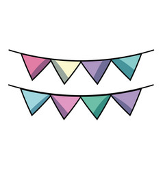 cute party flag decoration design vector image