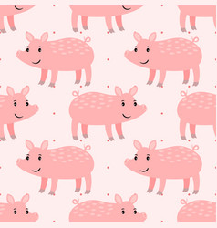 cute pink pig seamless pattern vector image