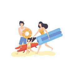 dad mom and their little daughter with inflatable vector image
