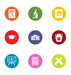 Day of school icons set flat style vector
