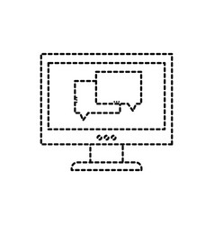 Dotted shape chat bubble message inside computer vector