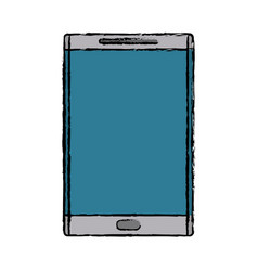 drawing smartphone device mobile blue screen vector image