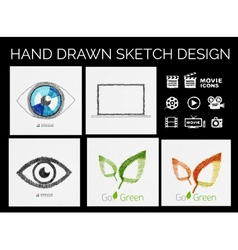 Drawn sketch designs vector image