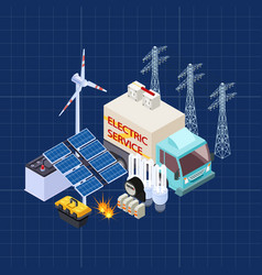 electric service isometric composition with vector image