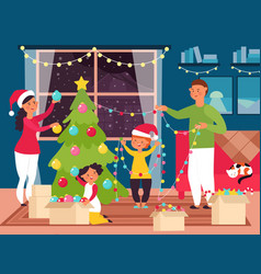 family christmas at home funny kid decorate xmas vector image