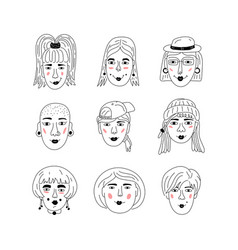 female faces icons informal girls punk rock vector image