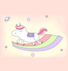 female unicorn on rainbow vector image vector image