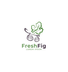 Fig with leaf logo design template vector