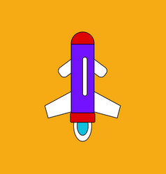 Flat icon design collection flying rocket vector