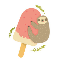 funny sloth hanging on ice cream vector image