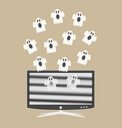 Ghosts fly out of the tv screen vector