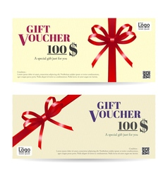 Gift Voucher Brown Red ribbon vector image vector image