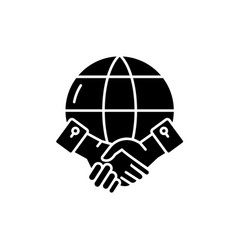 global partnership black icon sign on vector image