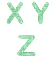 Green fabric font set - letters X Y Z vector