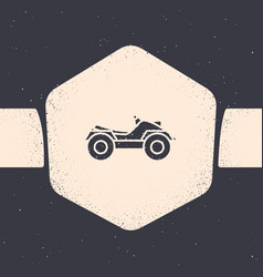 Grunge all terrain vehicle or atv motorcycle icon vector
