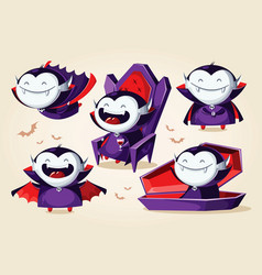 halloween cartoon vampire set character vector image