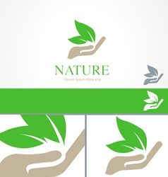 Hands Leaf Green Nature Natural Logo Template vector image