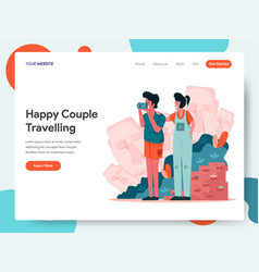 happy couple travelling concept vector image