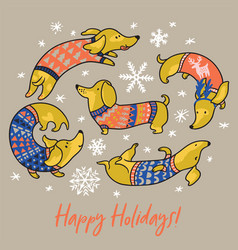 happy holiday card witn funny dachshunds in vector image
