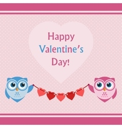Happy Valentines Day Lettering Card with Owls vector