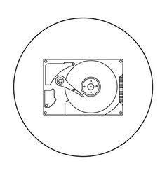 Hard disk icon in outline style isolated on white vector