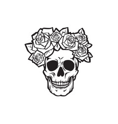 Human skull with roses black and white vector