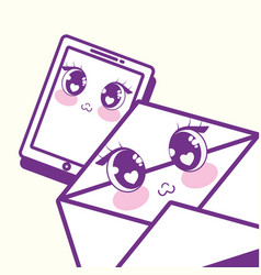 kawaii cellphone and envelope vector image