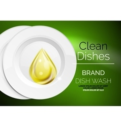 Kitchen dish wash drop on ceramic plate vector