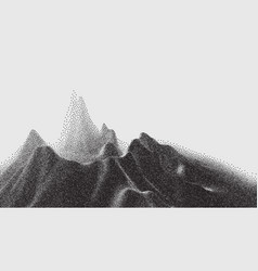 landscape mountain in dotwork style vector image