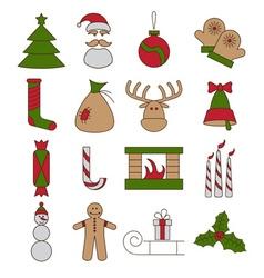 Line craft icons set of christmas theme vector