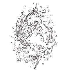 Little queen mermaid with dolphin vector