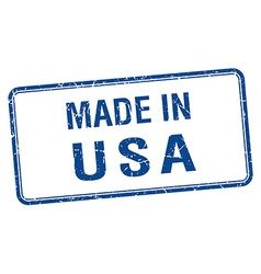 Made in usa blue square isolated stamp vector