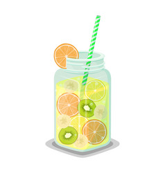 mug of refreshing drink with fresh kiwi grapefruit vector image