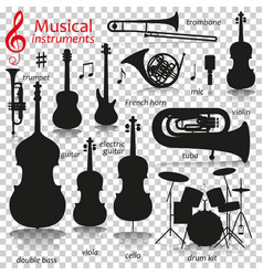 Music instruments silhouette icons with vector