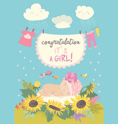 Nice card with cute bain flowers vector
