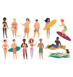 Ocean sea beach summer activities cute people vector
