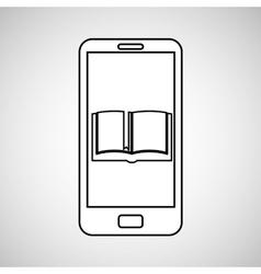 Open book mobile device education vector