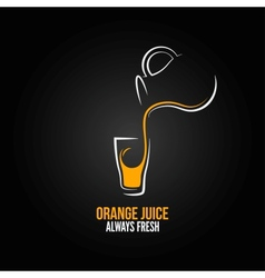 Orange juice glass bottle menu design background vector