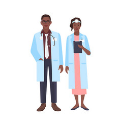Pair of african american doctors wearing physician vector