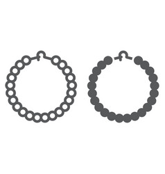 Pearls bracelet line and glyph icon jewelry and vector