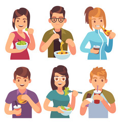 People eating eat drinking food men women healthy vector
