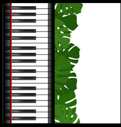 Piano keyboard with monstera leaves frame vector