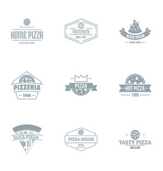 pizzeria logo set simple style vector image
