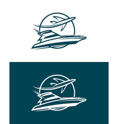 Plane and boat in circle - icon vector