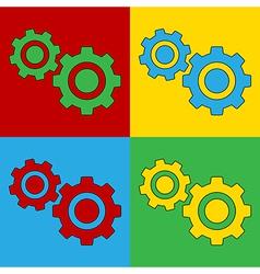 Pop art settings icons vector image