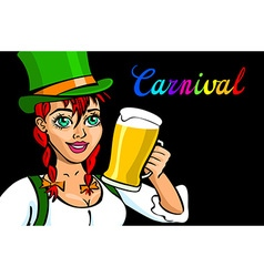 Pretty Bavarian girl with beer Oktoberfest girl vector